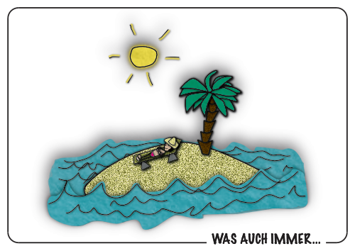 Mann auf Insel
